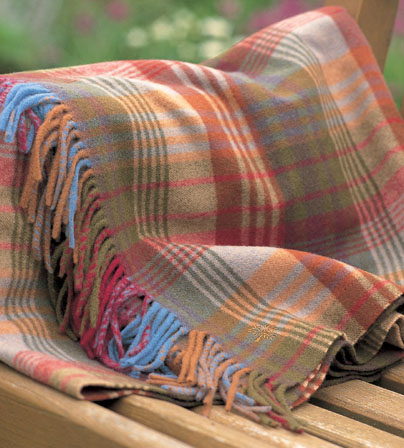 Mulberry Ancient Tartan Lambs Wool Throw