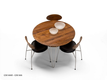 GM 6600 Matbord Runt Utdragbart Massivt trä